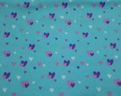 """Flannel Fabric - Glam Hearts - 24"""" REMNANT - 100% Cotton Flannel"""