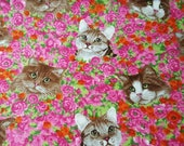 """Flannel Fabric - Cats on Floral - 25"""" REMNANT - 100% Cotton Flannel"""