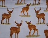 """Flannel Fabric - Floral Crown Real Deer on White - 25"""" REMNANT - 100% Cotton Flannel"""