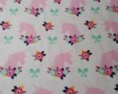 "Flannel Fabric - Bright Unicorns Floral - 34"" REMNANT - 100% Cotton Flannel"
