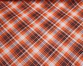 Flannel Fabric - Kate Orange Navy Plaid - REMNANT - 100% Cotton Flannel
