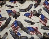 """Flannel Fabric - Eagles and Flags - 20"""" REMNANT - 100% Cotton Flannel"""