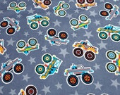 """Flannel Fabric - Monster Trucks Tossed - 23"""" REMNANT - 100% Cotton Flannel"""