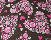 """Flannel Fabric - Floral Hearts - 25"""" REMNANT - 100% Cotton Flannel"""