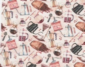 Coffee Pots and Coffee Grounds Cotton Quilting Fabric - Select Your Size or By The Yard - 100% Cotton Fabric
