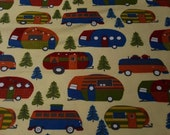 Flannel Fabric - Campers and Pines - REMNANT - 100% Cotton Flannel