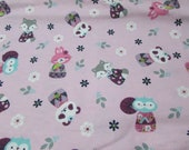 """Flannel Fabric - Cherry Blossom Animals - 32"""" REMNANT - 100% Cotton Flannel"""