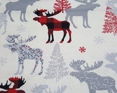 Christmas Flannel Fabric - Moose Check - REMNANT - 100% Cotton Flannel