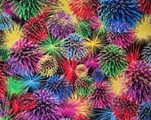 Cotton Fabric - Fireworks Multi Bright Color Rainbow Quilt Cotton - Select Your Size or By The Yard - 100% Cotton Fabric