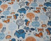 """Flannel Fabric - Folk Forest Creatures  - 28"""" REMNANT - 100% Cotton Flannel"""