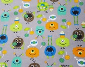 """Flannel Fabric - Sweet Tooth Monsters - 24"""" REMNANT - 100% Cotton Flannel"""
