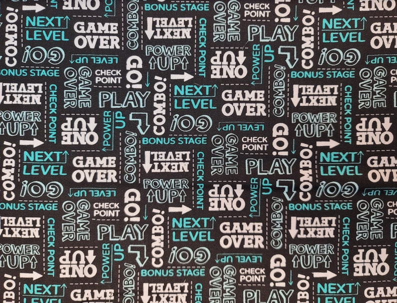 Cotton Fabric Select Your Size or By The Yard Game On Words on Black Premium Quilt Cotton 100/% Cotton Fabric