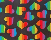 Cotton Fabric - Rainbow Hearts on Black Quilt Cotton Fabric - Select Your Size or By The Yard - 100% Cotton Fabric
