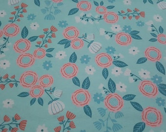 """Flannel Fabric - Hanna Mint Pink Floral - 28"""" REMNANT - 100% Cotton Flannel"""