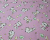 """Flannel Fabric - Teddy Time Pink - 39"""" REMNANT - 100% Cotton Flannel"""