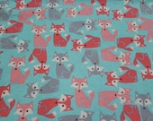 """Flannel Fabric - Coral and Gray Foxes - 30"""" REMNANT - 100% Cotton Flannel"""