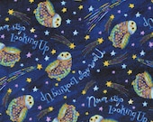 Cotton Fabric - Stay Wild Moon Child, Owls in Galaxy on Blue Quilting Fabric - Select Your Size or By The Yard - 100% Cotton Fabric