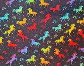 Cotton Fabric - Rainbow Unicorns on Black Quilt Cotton Fabric - Select Your Size or By The Yard - 100% Cotton Fabric