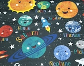 Flannel Fabric - Happy Solar System - REMNANT - 100% Cotton Flannel