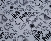 """Character Flannel Fabric - Harry Potter Artifacts on White - 29"""" REMNANT - 100% Cotton Flannel"""