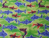 """Flannel Fabric - Shark Waters Shadow - 22"""" REMNANT - 100% Cotton Flannel"""