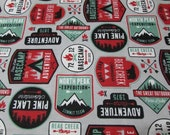 """Flannel Fabric - Adventure Patches - 29"""" REMNANT - 100% Cotton Flannel"""