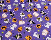 """Flannel Fabric - Halloween Cats  - 20"""" REMNANT - 100% Cotton Flannel"""
