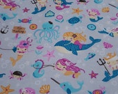Flannel Fabric - Mermaid Friends - REMNANT - 100% Cotton Flannel