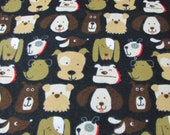 """Flannel Fabric - Dog Faces on Black - 23"""" REMNANT - 100% Cotton Flannel"""