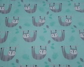 Flannel Fabric - Happy Sloth - REMNANT - 100% Cotton Flannel