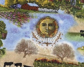 Old Farmer's Almanac Celestial Scenic Farmer and Crops Quilting Cotton - Select Your Size or By The Yard - 100% Cotton Fabric