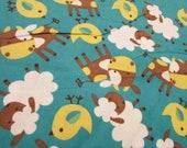 "Flannel Fabric - Farm Animals Green - 32"" REMNANT - 100% Cotton Flannel"
