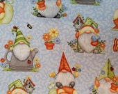 Cotton Fabric - Gnome Is Where The Garden Grows Garden Gnomes and Pots on Light Blue - Select Your Size or By The Yard - 100% Cotton Fabric