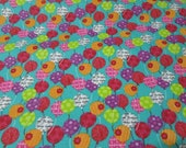 """Flannel Fabric - Happy Birthday Balloons - 27"""" REMNANT - 100% Cotton Flannel"""
