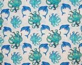 Dolphin and Octopus Blue Aqua Ocean Sea - 100% Cotton Fabric - Select Your Size or By The Yard