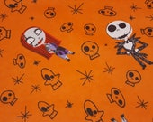"""Character Flannel Fabric - Nightmare Before Christmas Skulls - 22"""" REMNANT - 100% Cotton Flannel"""