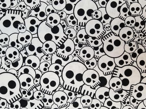 Halloween Black White Cotton lycra kwikknits Stretch Knit four way Fabric skull fabric stretch fabric Skulls monochrome