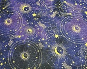 """Flannel Fabric - Zodiac Constellations - 23"""" REMNANT - 100% Cotton Flannel"""