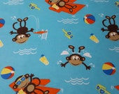 """Flannel Fabric - Swimming Monkeys - 28"""" REMNANT - 100% Cotton Flannel"""