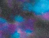 Cotton Fabric - Stargazer Purple Blue Black Galaxy Quilting Cotton - Select Your Size or By The Yard - 100% Cotton Fabric