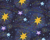 Cotton Fabric - Stay Wild Moon Child, Shooting Stars Galaxy on Blue Quilting Fabric - Select Your Size or By The Yard - 100% Cotton Fabric