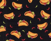 Raining Tacos Fun with Peppers on Black Cotton Quilting Fabric - Select Your Size or By The Yard - 100% Cotton Fabric