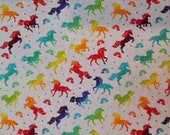 Cotton Fabric - Rainbow Unicorns on White Quilt Cotton - Select Your Size or By The Yard - 100% Cotton Fabric