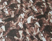 """Flannel Fabric - Running Horses Brown - 25"""" REMNANT - 100% Cotton Flannel"""