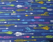 Flannel Fabric - Bright Arrows on Navy - REMNANT - 100% Cotton Flannel