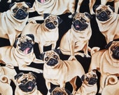 Pugs on Black from Timeless Treasures - Dog Breed - 100% Cotton Fabric - Select Your Size or By The Yard
