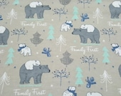 """Flannel Fabric - Family First - 20"""" REMNANT - 100% Cotton Flannel"""