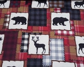 """Flannel Fabric - Bear Lake Patch Red - 24"""" REMNANT - 100% Cotton Flannel"""