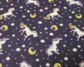 Flannel Fabric - Unicorns on Purple - REMNANT - 100% Cotton Flannel