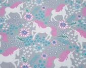 Flannel Fabric - Magic Unicorns Gray - REMNANT - 100% Cotton Flannel
